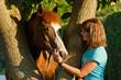 Frau streichelt Pferd am Baum