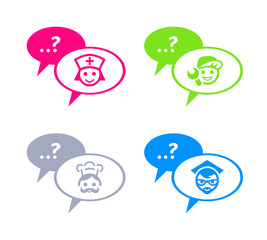 Chat with doctor, service man, chef and teacher icons