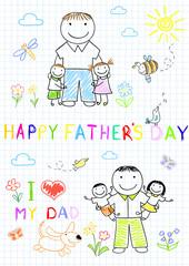 Happy children with dad