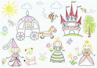 Vector sketches with happy princesses