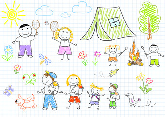 Happy family in camping