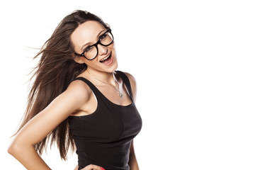 excited happy woman on a white background