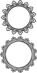 Pair of round frames in hand drawn style