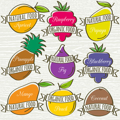set of organic  fruit, vector illustration