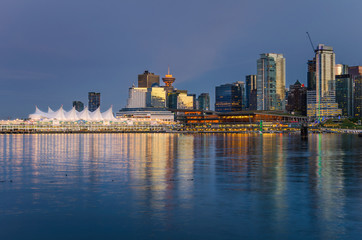 Vancouver Waterfront at Dusk and Reflection in Water