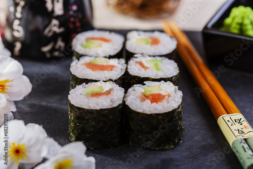 Classic sushi with salmon and avocado - 68297288