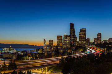 Seattle Skyline at Dusk with the Freeyway on Foreground