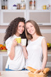 Young women with the morning cups of tea
