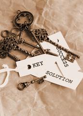 Some vintage keys with motivation words