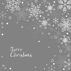 Retro simple Christmas card with white snowflakes