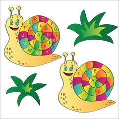 Vector illustration of a snail - a alphabet puzzle for child