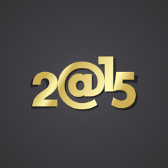 Gold New Year 2015 black background vector