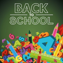 Back to school background with letters, numbers and colored penc