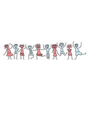 10 Kinder Mädchen Jungen Gruppe Freunde