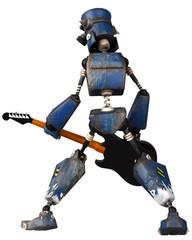old robot playing guitar rear pose