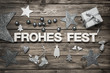 canvas print picture - Weihnachtskarte weiß grau mit Text: Frohes Fest
