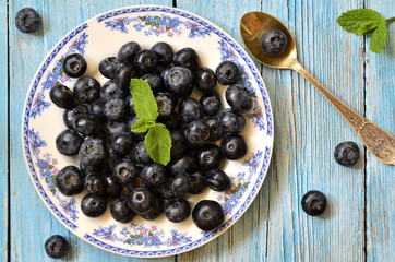 Blueberries on a plate.