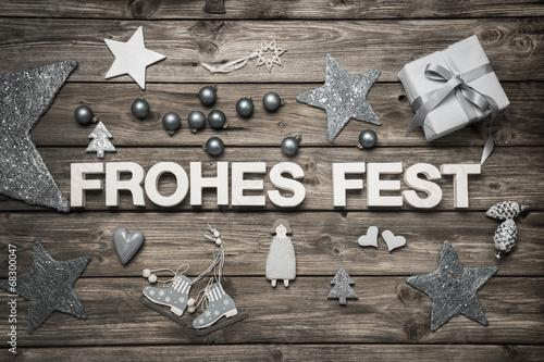 canvas print picture Weihnachtskarte weiß grau mit Text: Frohes Fest