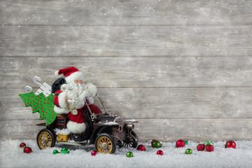 Weihnachtskarte mit Santa Claus: Weihnachtsdekoration rot grün