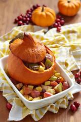 Stuffed pumpkin with fruits