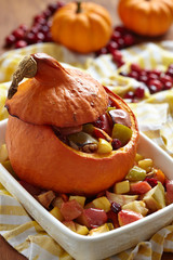 Stuffed pumpkin with fruits