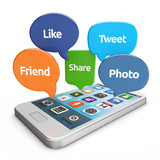 smartphone with social media bubbles (like, tweet, friend, share poster