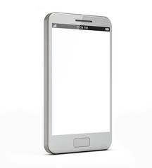 white smartphone with blank screen isolated