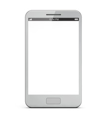 white smart phone with blank screen isolated