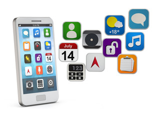 white smartphone with apps cloud