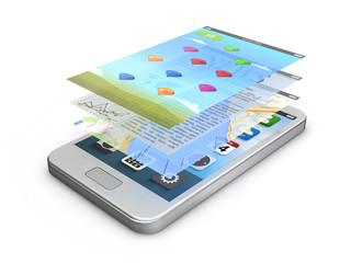 white smartphone app screens (game, news, gps)