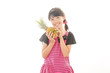 パイナップルを持っている少女