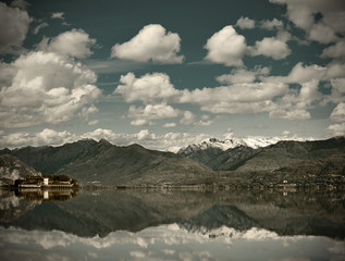 View over Lake Maggiore and Alps mountains