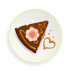 Piece of cake, and heart on dish