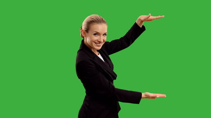 businesswoman crosses his arms  on green screen + alpha channel