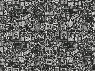 seamless doodle media pattern