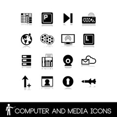 Set of computer-media icons