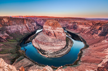 Horseshoe bend at sunrise, Arizona, USA