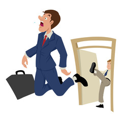 Cartoon illustration of a businessman being kicked out
