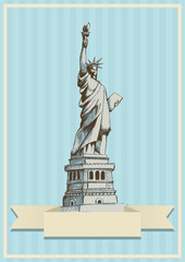Sketch illustration of the statue of Lady Liberty