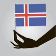 Hand with Iceland flag