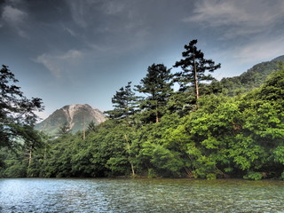 Lake Taisho and Mount Yake in Kamikochi, Nagano, Japan