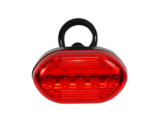 Red bicycle rear lamp on white background