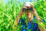 man in an ambush the reeds with binoculars poster