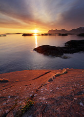 Sunset in Norwegian coast,Senja