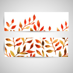 vector autumn watercolor leaf pattern template