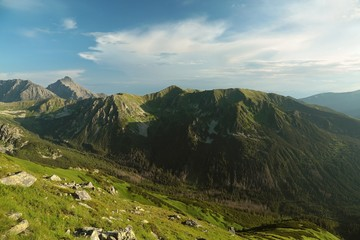 View from the top of the Kasprowy wierch in Tatra mountains