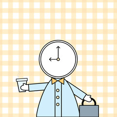 boy with a clock as a head ready to work