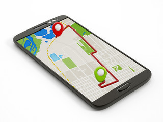 Navigation map on smartphone