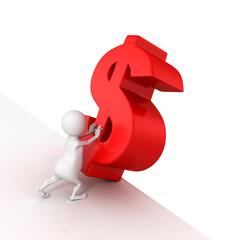 3d man push red dollar symbol to fall