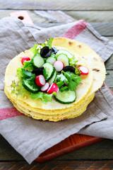 stack corn pitas with salad
